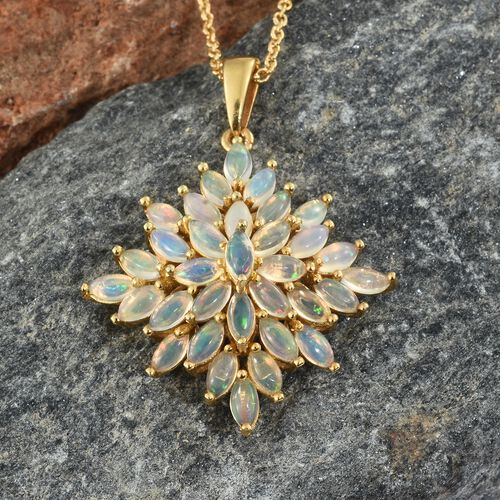 Ethiopian Welo Opal (Mrq) Pendant with Chain in 14K Gold Overlay Sterling Silver 3.000 Ct. Silver wt 5.08 Gms.