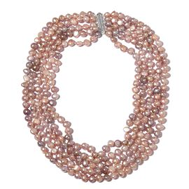 Fresh Water Dark Purple Pearl Multi Strand Necklace (Size 18) in Rhodium Plated Sterling Silver, Silver wt 5.00 Gms.