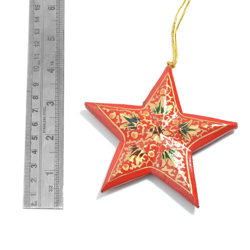 Home Decor - Set of 3 - Red and Multi Colour Wall Hanging Christmas Stars