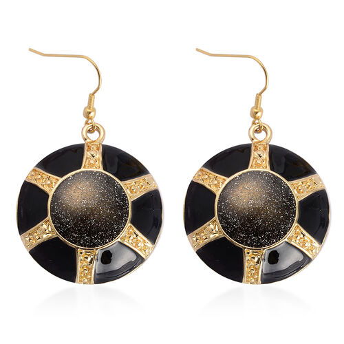 Black Enameled Necklace (Size 20 with 3 inch Extender) and Hook Earrings in Gold Tone