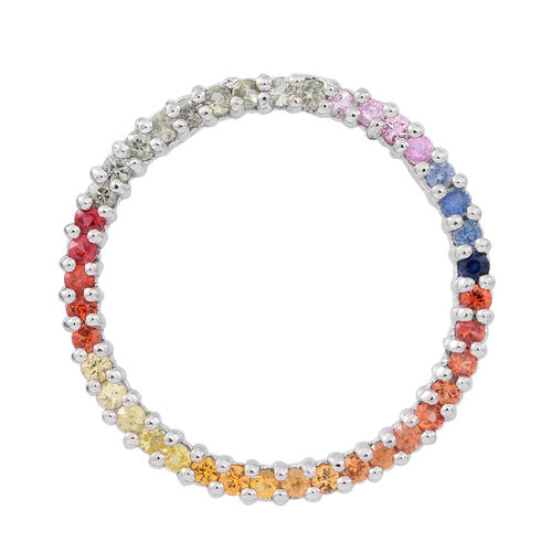 Rainbow Sapphire (Rnd) Circle of Life Pendant in Rhodium Plated Sterling Silver 2.000 Ct.