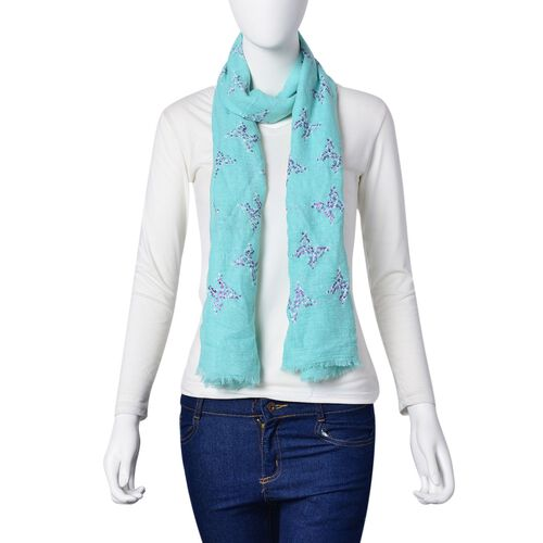 Purple and White Colour Butterfly Pattern Turquoise Green Colour Scarf (Size 180x70 Cm)