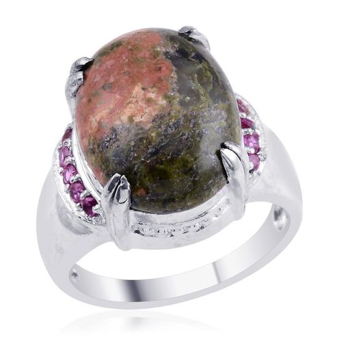 Designer Collection Rainbow Calsilica (Ovl 15.00 Ct), Simulated Red Diamond Ring in ION Plated Platinum Bond 15.400 Ct.