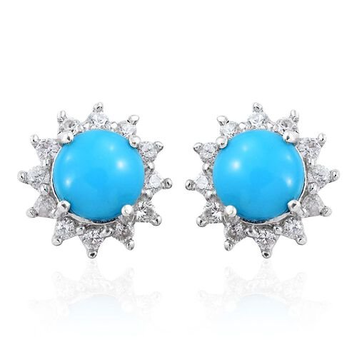 Arizona Sleeping Beauty Turquoise (Rnd), Natural Cambodian Zircon Stud Earrings (with Push Back) in Platinum Overlay Sterling Silver 1.750 Ct.