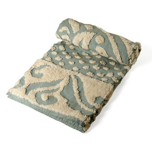 100% Cotton Geometric Pattern Cream and Light Green Colour Tufted Blanket (Size 200x150 Cm)