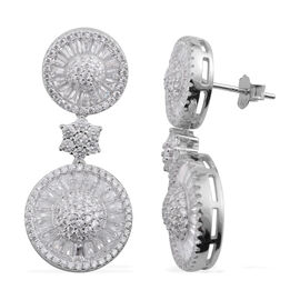 Signature Collection- Brilliant Cut ELANZA AAA Simulated Diamond Earrings (with Push Back) in Rhodium Plated Sterling Silver Number of Gemstone- 212 Stones