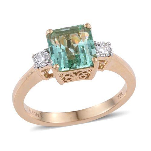 ILIANA 18K Y Gold Boyaca Colombian Emerald (Oct 2.20 Ct), Diamond Ring 2.400 Ct.