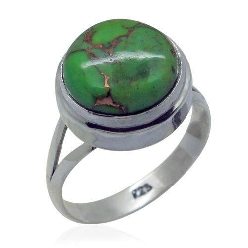 Royal Bali Collection Mohave Green Turquoise (Rnd) Solitaire Ring in Sterling Silver 5.990 Ct.