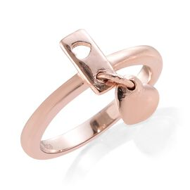 Rose Gold Overlay Sterling Silver Heart Charm Ring