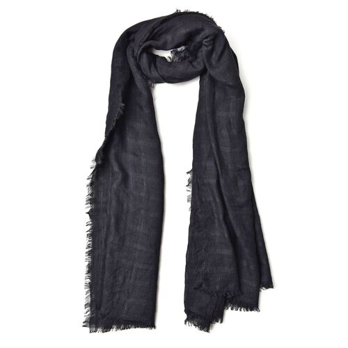 Black Colour Stripes Pattern Scarf with Fringes (Size 184X93 Cm)