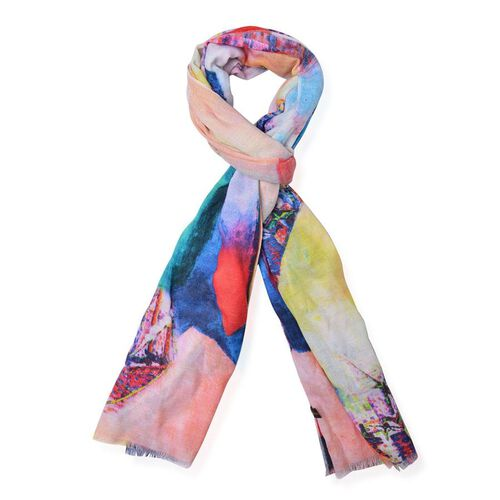 100% Wool Multi Colour Printed Scarf (Size 180x70 Cm)