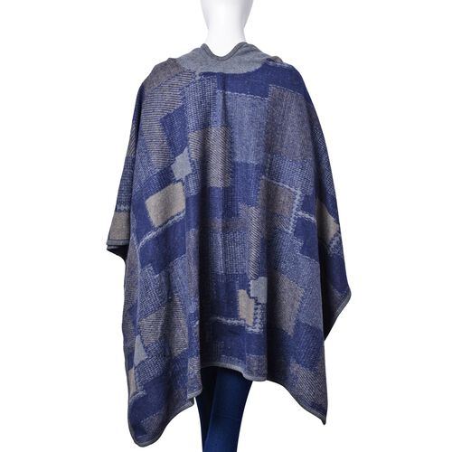 Blue and Grey Colour Geomatric Pattern Poncho (Size 123x76 Cm)