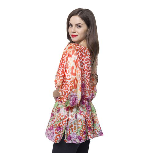 Designer Inspired - Red, Pink and Multi Colour Leopard and Jewellery Pattern Poncho (Free Size)