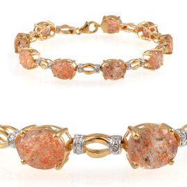 Tanzanian Sun Stone (Ovl), Diamond Bracelet (Size 7.5) in 14K Gold Overlay Sterling Silver 20.800 Ct.