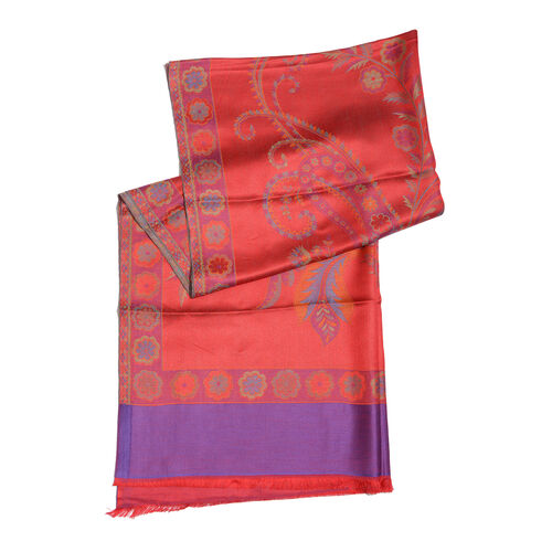 100% Modal Red, Purple and Multi Colour Jacquard Scarf (Size 190x70 Cm)