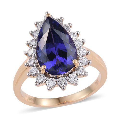 ILIANA 18K Y Gold AAA Tanzanite (Pear) Diamond (SI/G-H) Ring 6.150 Ct.