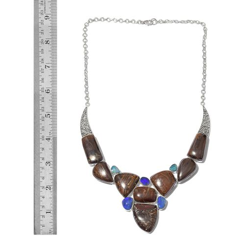 One Off A Kind- Australian Boulder Opal Rock and Opal Double Necklace (Size 18) in Sterling Silver 220.500 Ct. Silver wt 31.90 Gms.