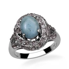 Larimar (Ovl 2.50 Ct), White Topaz Ring in Platinum Overlay Sterling Silver 4.000 Ct.