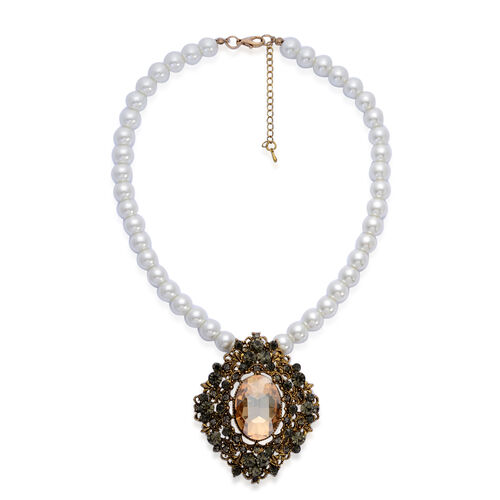 Yellow Glass, Grey Austrian Crystal and White Glass Pearl Necklace (Size 18) in Gold Tone with Stainless Steel