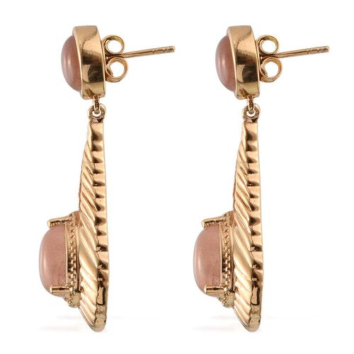 Morogoro Peach Sunstone (Pear) Earrings (with Push Back) in 14K Gold Overlay Sterling Silver 8.000 Ct.