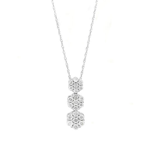 9K White Gold Diamond (Rnd) (I3/G-H) Triple Floral Pendant with Chain 0.500 Ct.