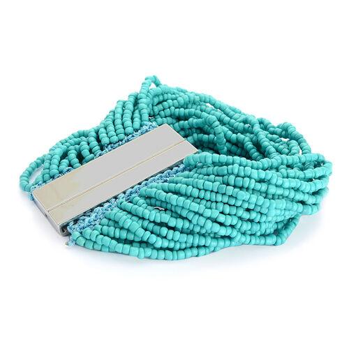 Green Glass Seed Beaded Bracelet (Size 8) in Silver Tone