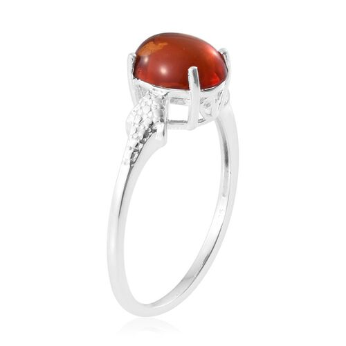 One Time Deal-Baltic Amber (Oval 10x8 mm) Solitaire Ring in Sterling Silver