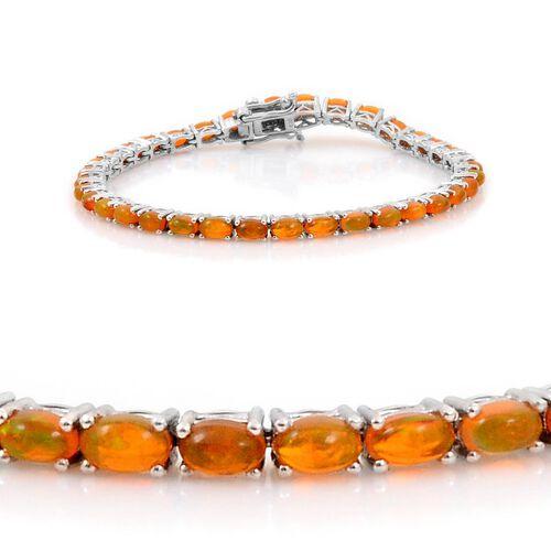 Orange Ethiopian Opal (Ovl) Bracelet in Platinum Overlay Sterling Silver (Size 7.5) 7.000 Ct.