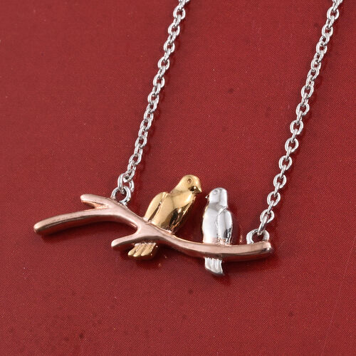Love Birds Sterling Silver Necklace in Platinum, Yellow Gold and Rose Gold Overlay (Size 18), Silver wt 4.20 Gms.