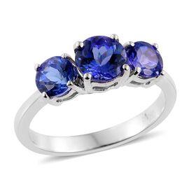 RHAPSODY 950 Platinum AAAA Tanzanite (Rnd 0.75 Ct) 3 Stone Ring 1.500 Ct.