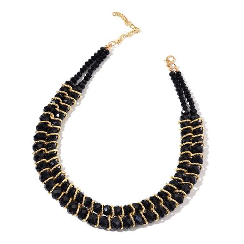 Simulated Black Spinel Necklace (Size 18 with 2 inch Extender) and Stretchable Bracelet (Size 7.50) in Gold Tone