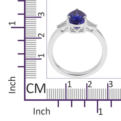 RHAPSODY 950 Platinum AAAA Tanzanite (Pear 3.40 Ct), Diamond (VS/E-F) Ring 3.650 Ct.