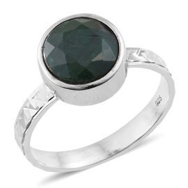 Rare Size Indian Emerald (Rnd) Solitaire Ring in Rhodium Plated Sterling Silver 5.000 Ct.