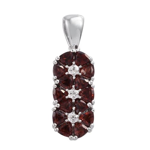 Mozambique Garnet (Trl), Natural Cambodian Zircon Pendant in Platinum Overlay Sterling Silver 2.000 Ct.