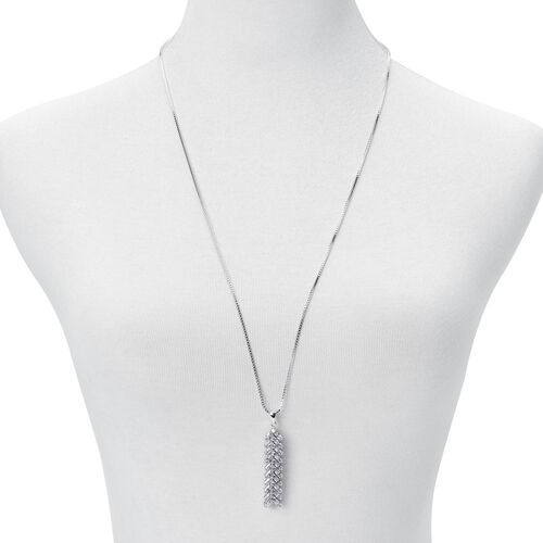 AAA Simulated White Diamond Pendant With Chain (Size 30) in Silver Tone