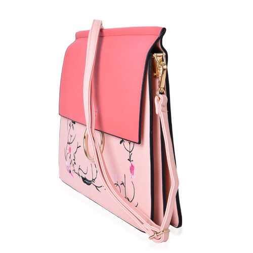 Designer Inspired - Flowers and Leaves Embroidered Pink and Salmon Colour Shoulder Bag with Adjustable and Removable Strap (Size 31.5X28X25X1.5 Cm)