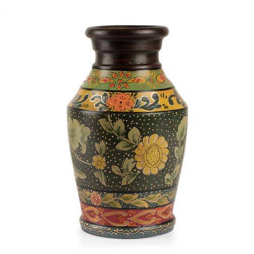 Limited Edition - Designer Inspired Hand Painted Floral Terracotta Vase Green, Yellow and Multi Colour