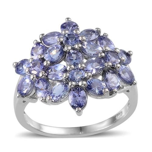 Tanzanite (Ovl) Floral Ring in Platinum Overlay Sterling Silver 3.500 Ct.