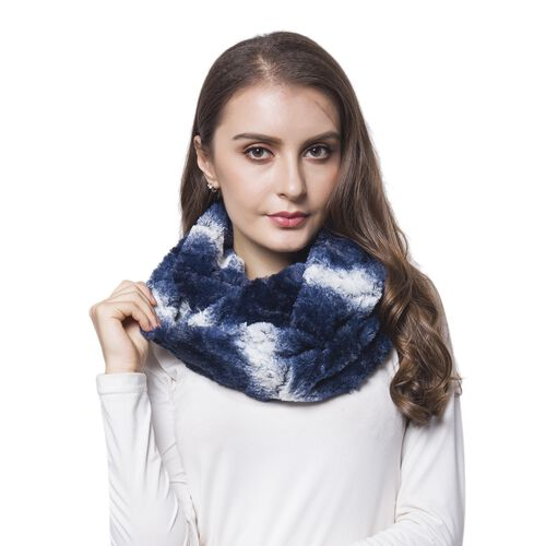 Navy and White Colour Wave Pattern Faux Fur Scarf (Size 80X20 Cm)