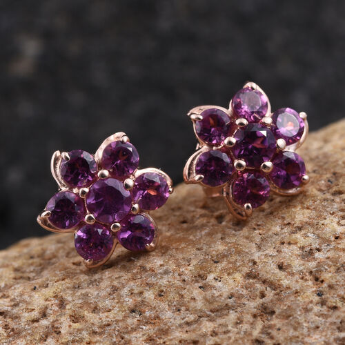 Rare Mozambique Grape Colour Garnet (Rnd) Floral Stud Earrings in Rose Gold Overlay Sterling Silver 1.250 Ct.