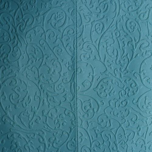 Genuine Leather RFID Blocker Filigree Pattern Pastel Blue Colour Handbag with External Zipper Pocket (Size 36X28X16 Cm)