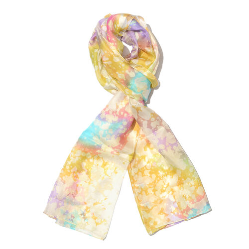 100% Mulberry Silk Yellow, White, Purple and Multi Colour Hand Screen Printed Scarf (Size 180x50 Cm)