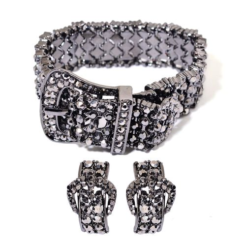 AAA Black Austrian Crystal Adjustable Buckle Bracelet and Earrings in Black Rhodium Tone