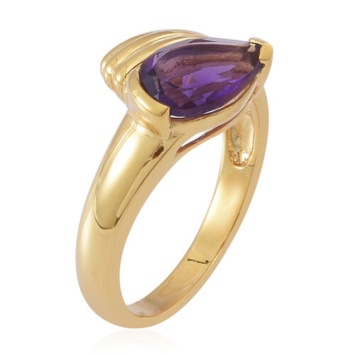 Amethyst (Pear) Solitaire Ring in 14K Gold Overlay Sterling Silver 1.750 Ct.