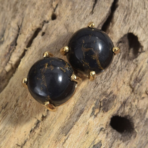 Arizona Mojave Black Turquoise (Rnd) Stud Earrings (with Push Back) in 14K Gold Overlay Sterling Silver 5.000 Ct.
