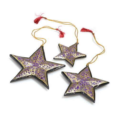 Home Decor - Set of 3 - Purple, Black and Golden Colour Wall Hanging Christmas Stars