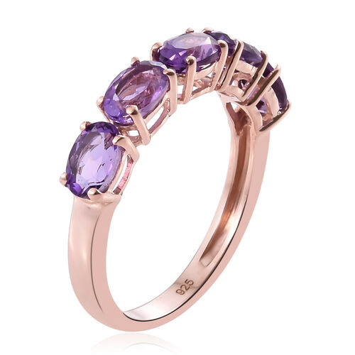 Amethyst 2 Carat Silver 5 Stone Ring in Rose Gold Overlay