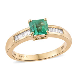 ILIANA 18K Yellow Gold 0.95 Ct AAA Boyaca Colombian Emerald Ring with Diamond (SI/G-H)