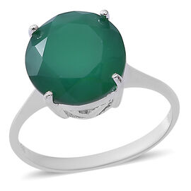Verde Onyx (Rnd) Solitaire Ring in Sterling Silver 5.500 Ct.