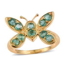 Brazilian Emerald (Rnd) Butterfly Ring in 14K Gold Overlay Sterling Silver 1.250 Ct.